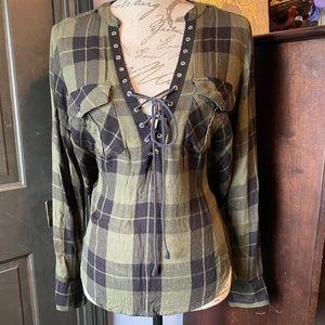 Express plaid lace-up blouse.